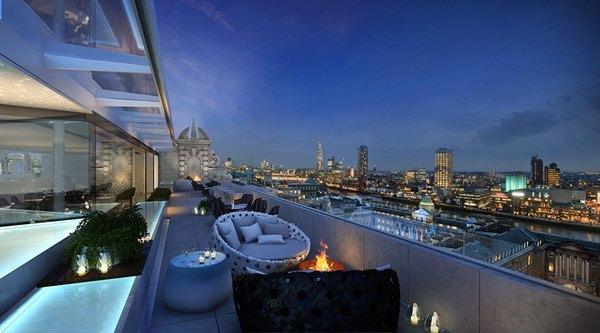 Chimenea abierta decorativa para terrazas