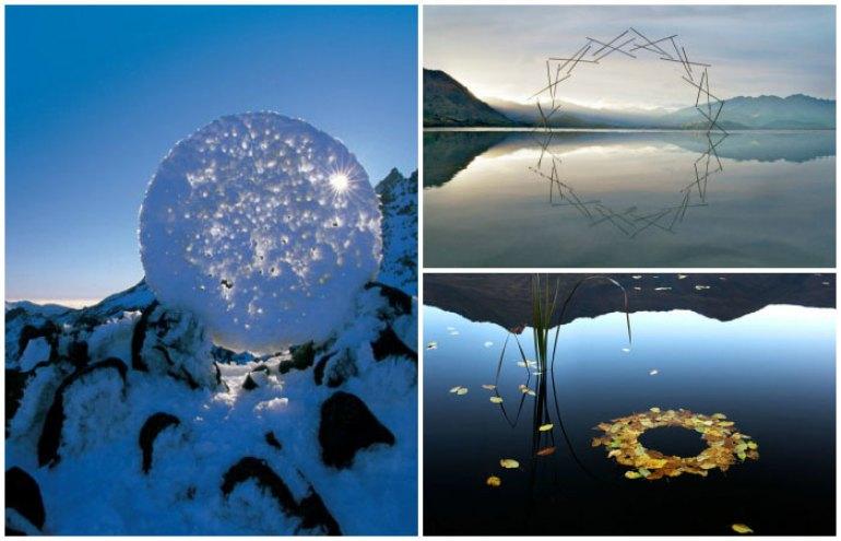 Martin Hill, fotógrafo y artista que lleva más de 20 años trabajando con la naturaleza, crea esculturas efímeras de hielo, piedras y materiales orgánicos junto a su compañera Philippa Jones.