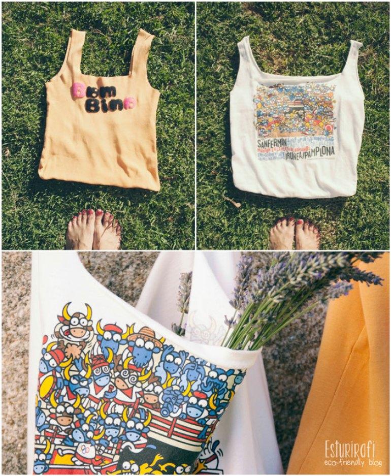 Collage con el resultado de las camisetas-bolsa tipo tote bag