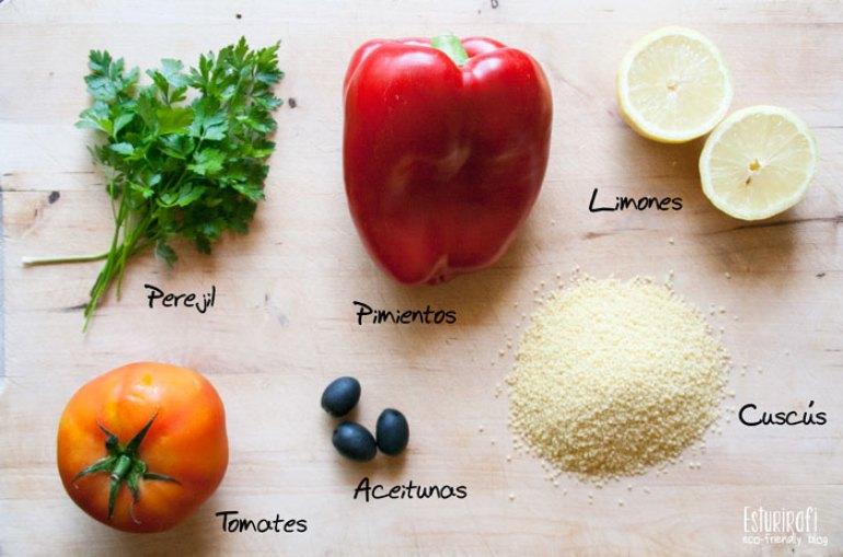 Ingredientes del tabule o ensalada fría de cuscús