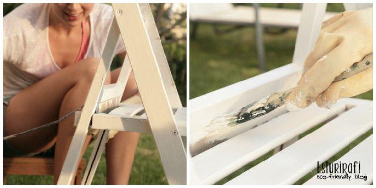 Pintar dos sillas y una mesa con una capa de pintura blanca. Reutilizar muebles viejos para la terraza.