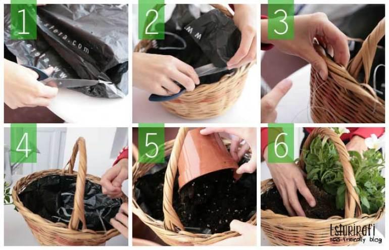 Corta la bolsa, ajusta la bolsa a la cesta, corta el sobrante. Cose la bolsa a la cesta por la parte superior. Echa la tierra en la cesta y planta la planta.