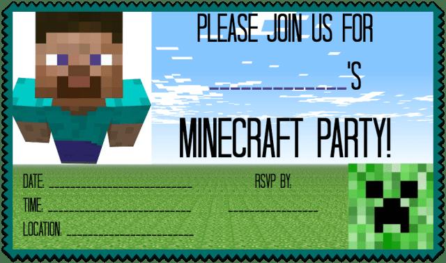 Minecraft Party Invitation