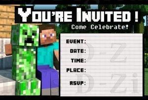 Minecraft invitation printable