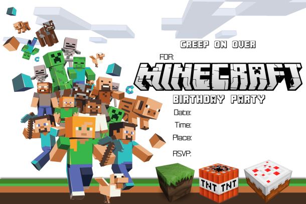 Free Minecraft Birthday Invitation card