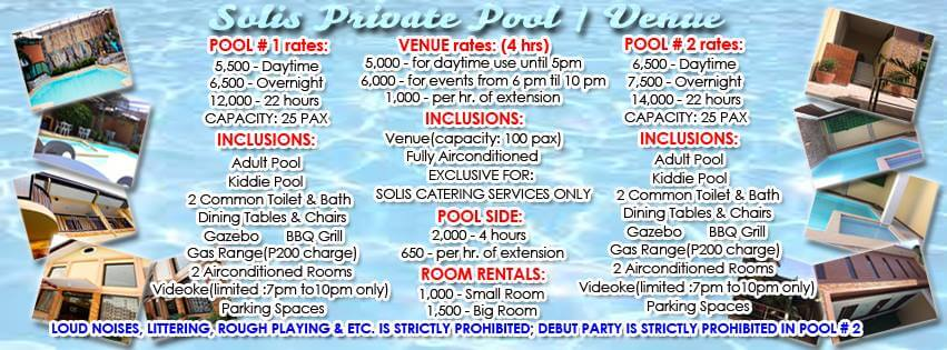 Solis Private Pool and Venue-rates