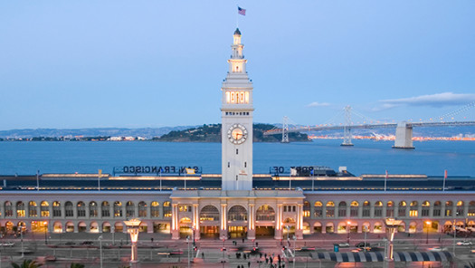 The San Francisco Ferry Building  clock tower  at sunset.