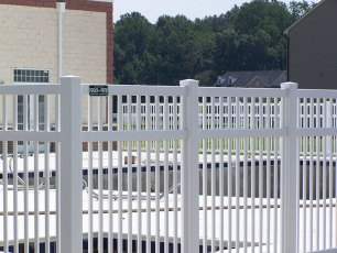 Fenwick with Mid-Rail Closed Rail Vinyl Fence