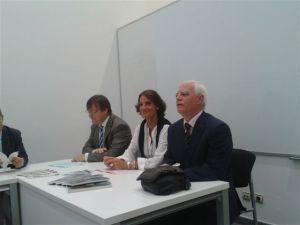 José María Casado, Paz Prieto y Javier Pisón en la apertura de la Vigésima Jornada Científica de Retina Navarra