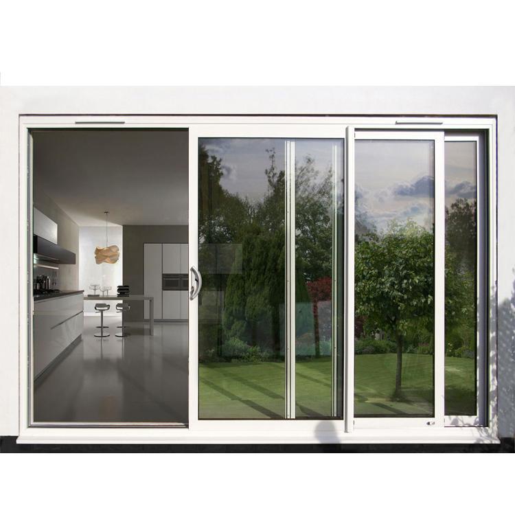 eswda aama fancy 96 x 80 balcony 3 track powder coated aluminium glass sliding patio door