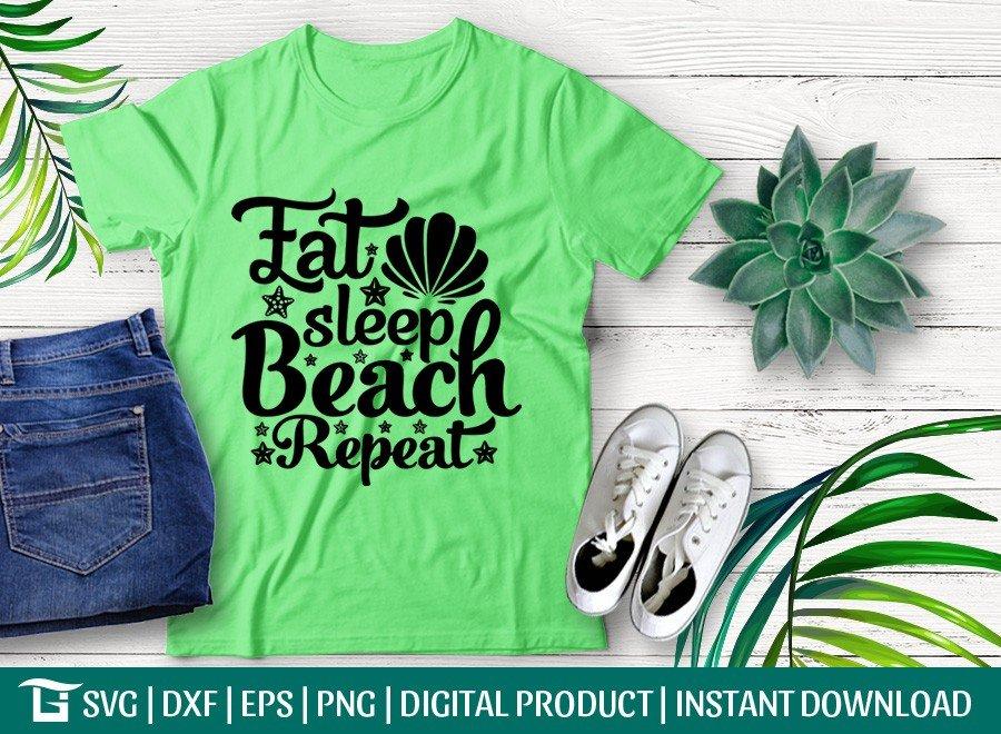 Eat Sleep Beach Repeat SVG | Summer SVG | T-shirt Design