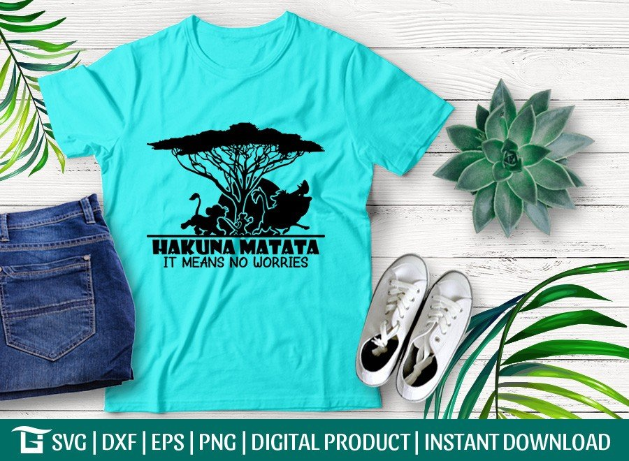 Hakuna Matata It Means No Worries SVG | T-shirt Design