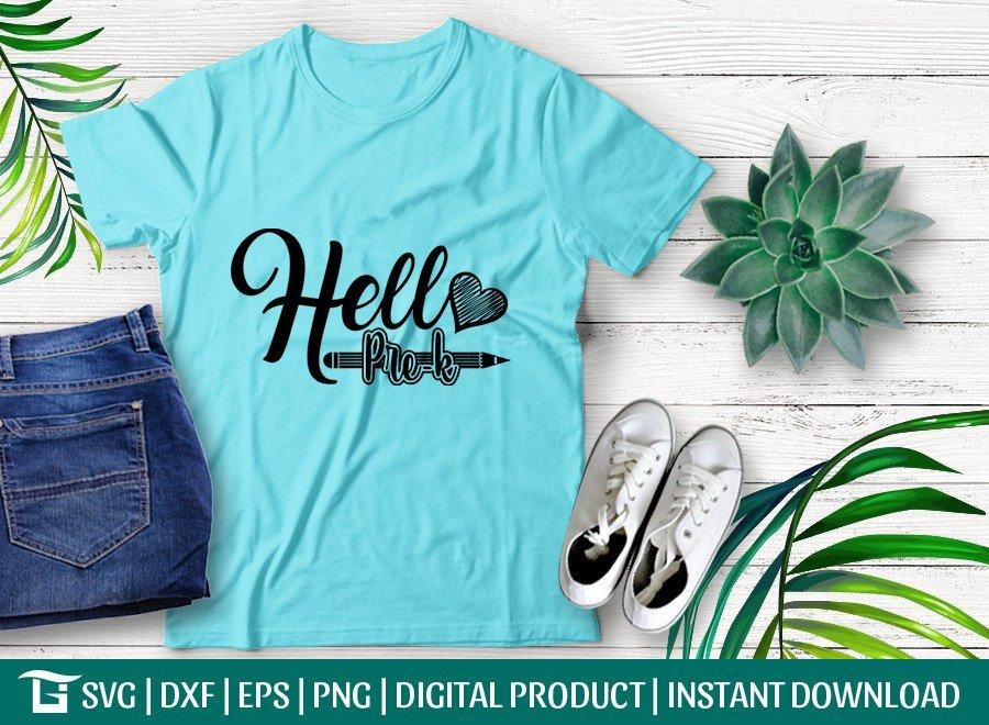 Hello Pre-K SVG   Back To School SVG T-shirt Design