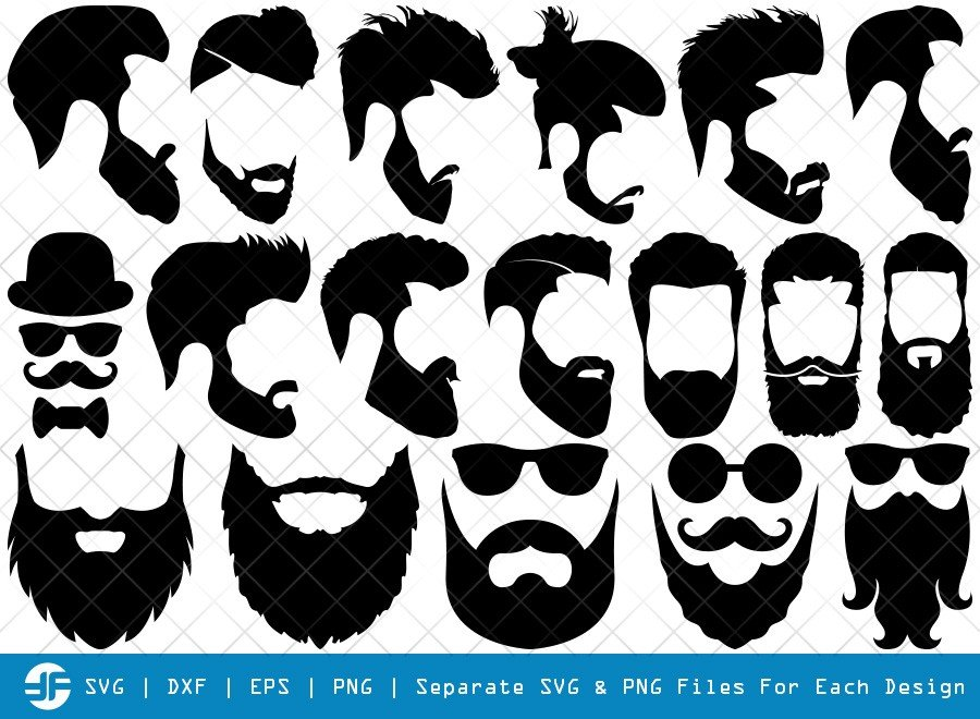 Beard SVG Cut Files | Beard Face Silhouette Bundle