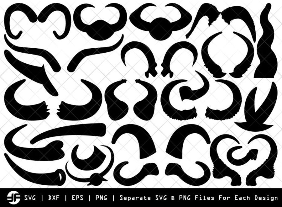Buffalo Horn SVG   Silhouette Bundle   SVG Cut File