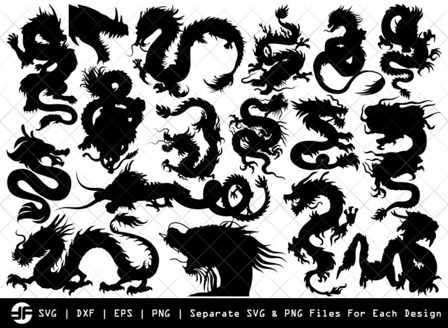 Chinese Dragon SVG | Animal | Silhouette Bundle | Cut File