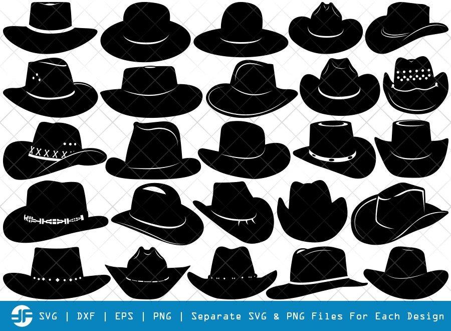 Cowboy Hat SVG Cut Files | Cowboy Sheriff Hat Silhouette Bundle