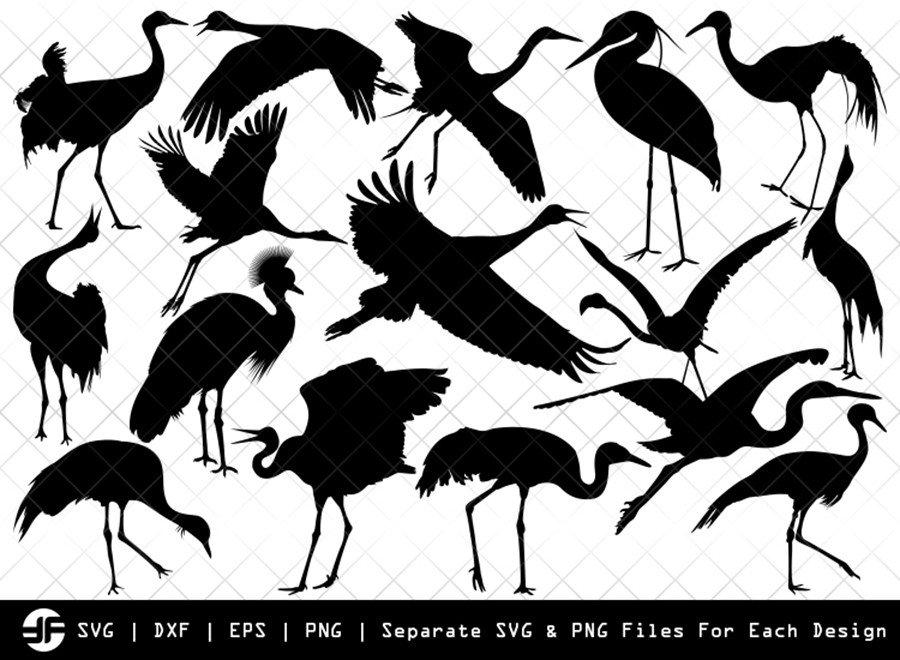 Crane Bird SVG | Crane Bird Silhouette Bundle | SVG Cut File
