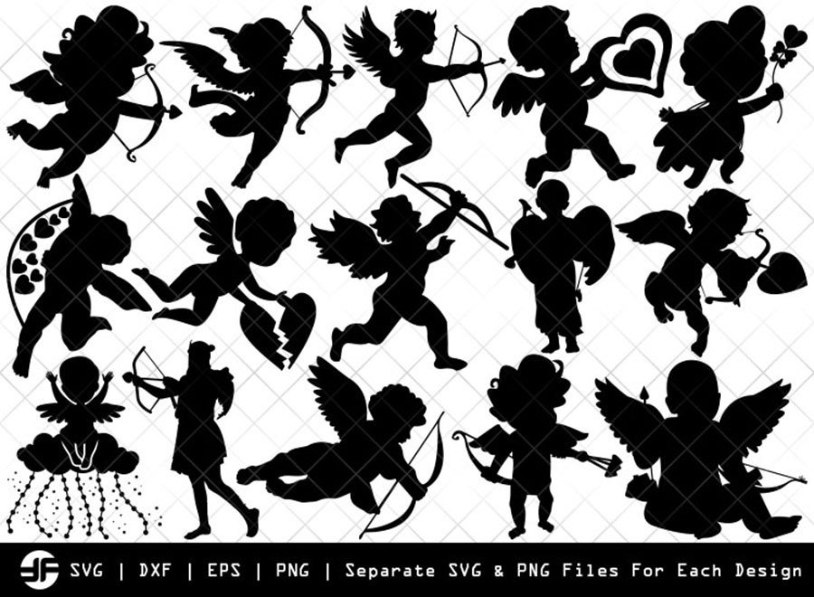 Cupid SVG | Angle SVG | Arrow Silhouette Bundle | Cut File
