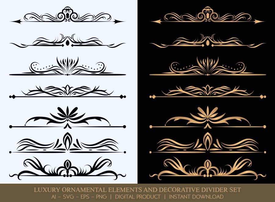 Luxury Decorative Divider Set SVG Cut Files | DDS023