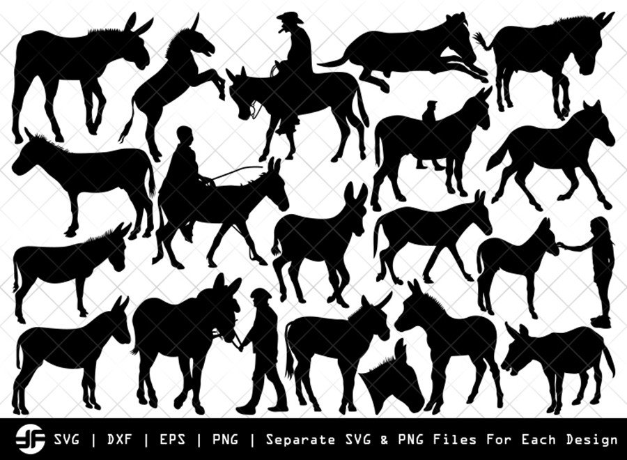 Donkey SVG | Animal SVG | Silhouette Bundle | SVG Cut File