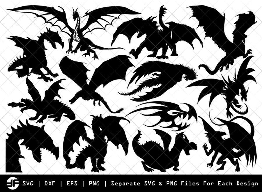 Dragon SVG | Animal SVG | Silhouette Bundle | SVG Cut File