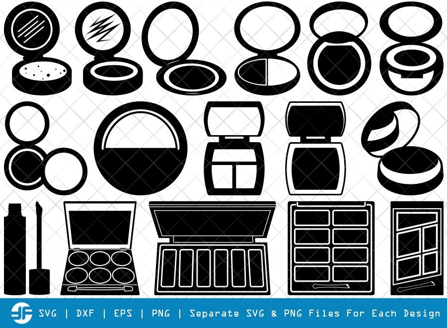 Face Powder SVG Cut Files | Face Mirror Silhouette Bundle