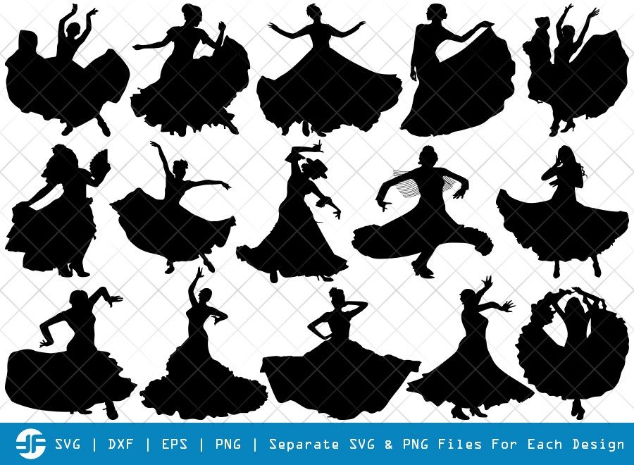 Flamenco Dancer SVG Cut Files | Woman Dancer Silhouette