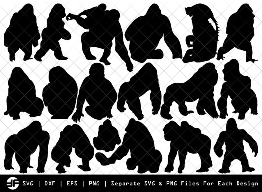 Gorilla SVG | Animal SVG | Silhouette Bundle | SVG Cut File