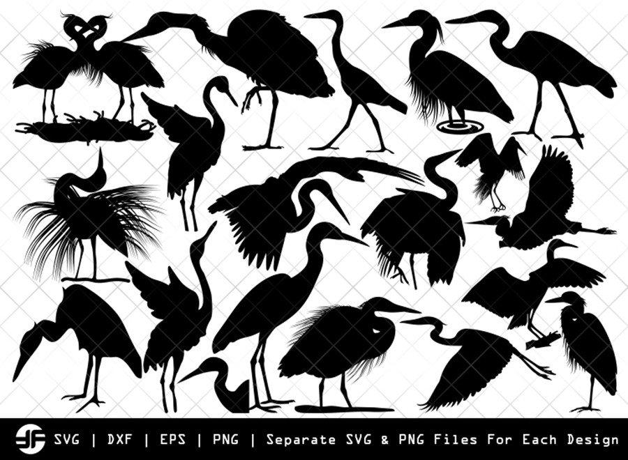 Great Heron SVG | Bird Silhouette Bundle | SVG Cut File