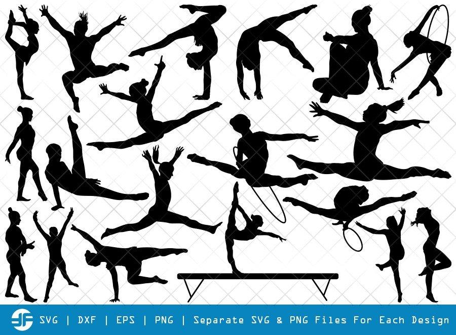 Gymnastics SVG Cut Files   Gymnast Silhouette Bundle