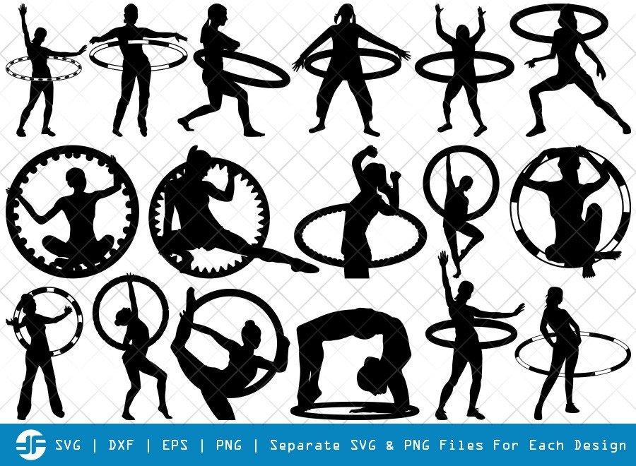Hula Hoop SVG Cut Files | Hula Hooping Silhouette Bundle