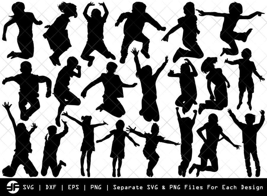 Kids Jumping SVG | Silhouette Bundle | SVG Cut File