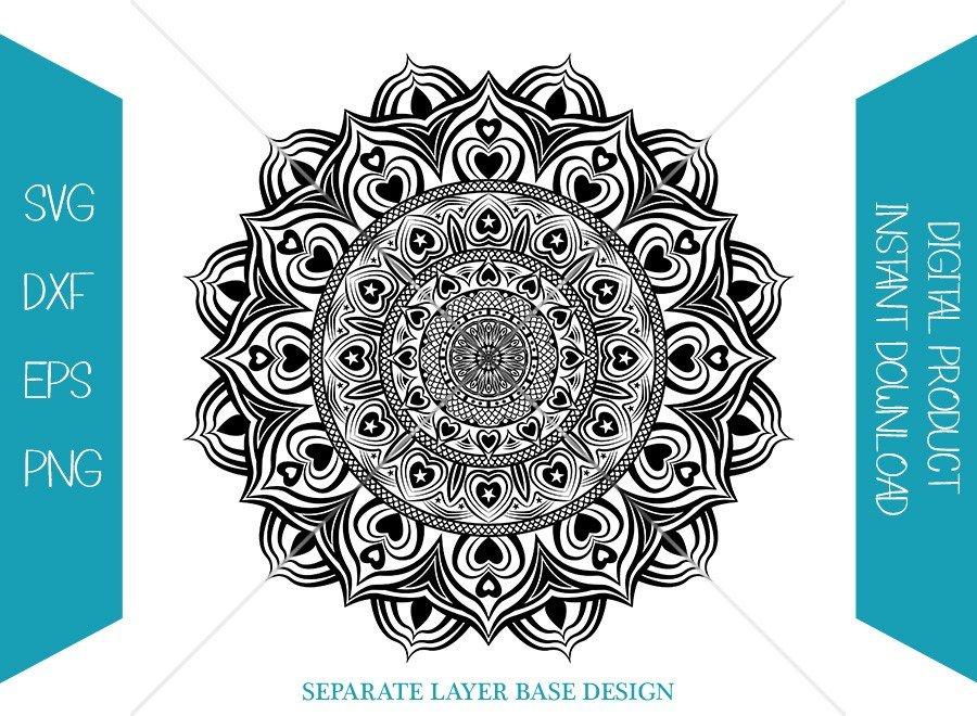Valentine Mandala SVG   Hearts Shape Silhouette   Cut File