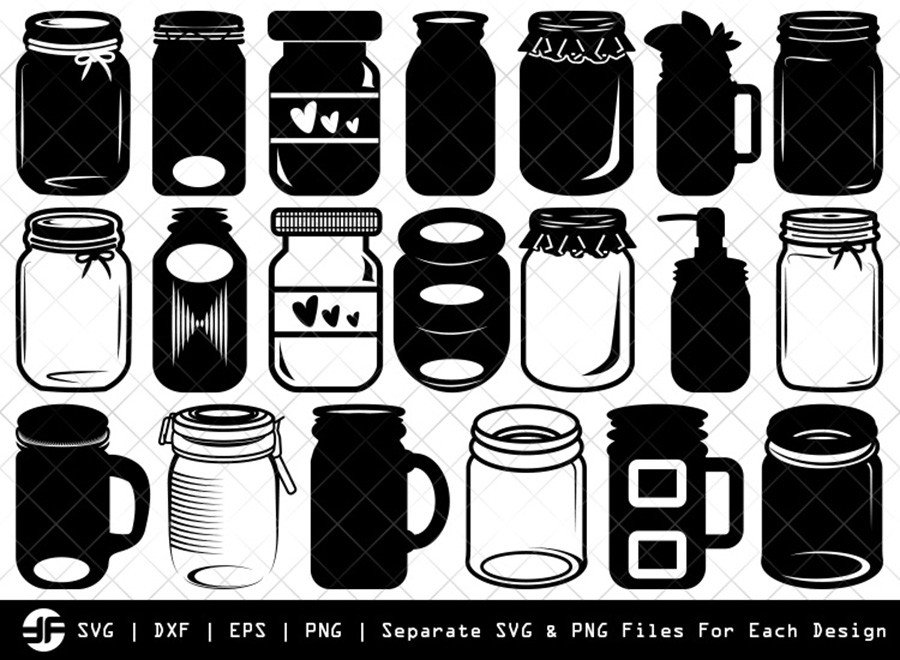 Mason Jars SVG | Silhouette Bundle | SVG Cut File