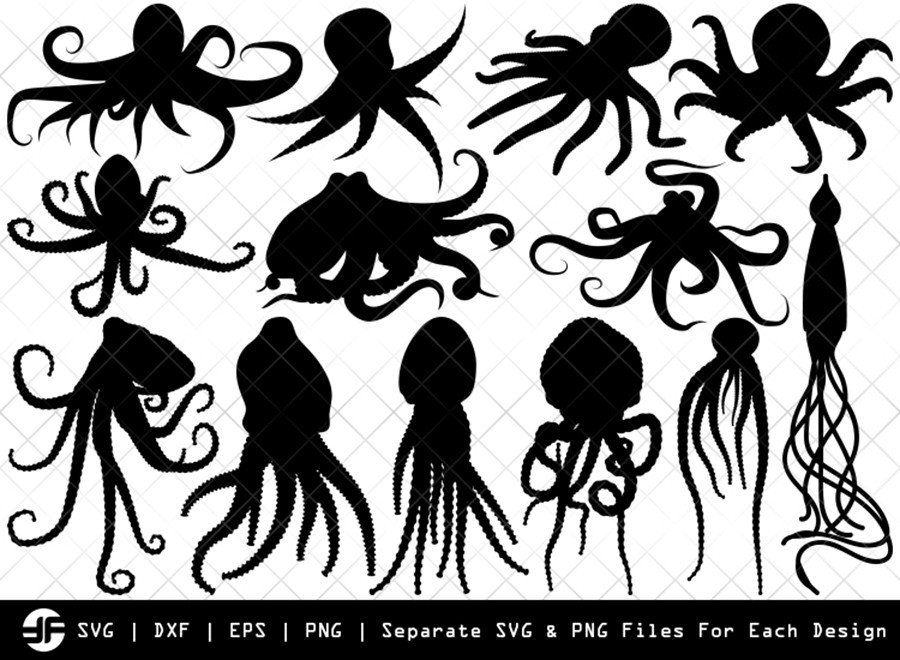 Octopus SVG | Octopus Silhouette Bundle | SVG Cut File