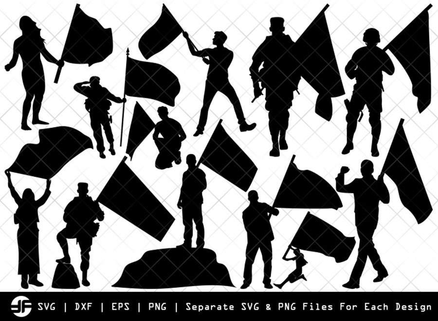 People with Flags SVG | Silhouette Bundle | SVG Cut File