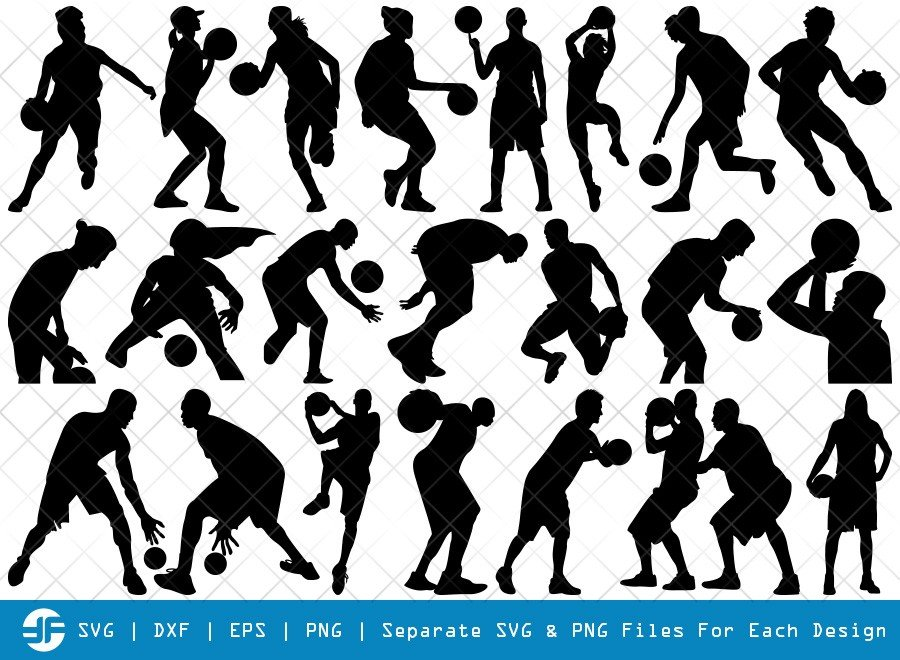 Playing Basketball SVG Cut Files | Sports Silhouette Bundle