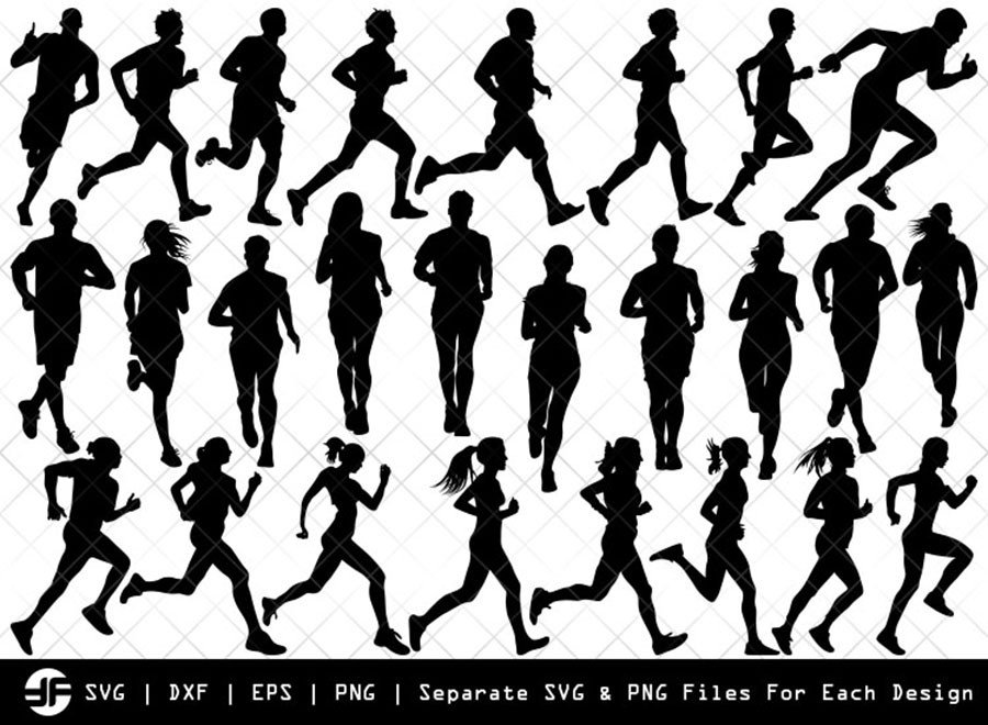 Running SVG | Exercise Run Silhouette Bundle | SVG Cut File