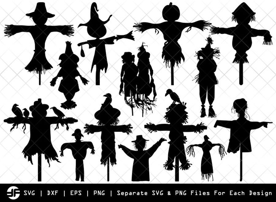 Scarecrow SVG | Crow SVG | Silhouette Bundle | SVG Cut File
