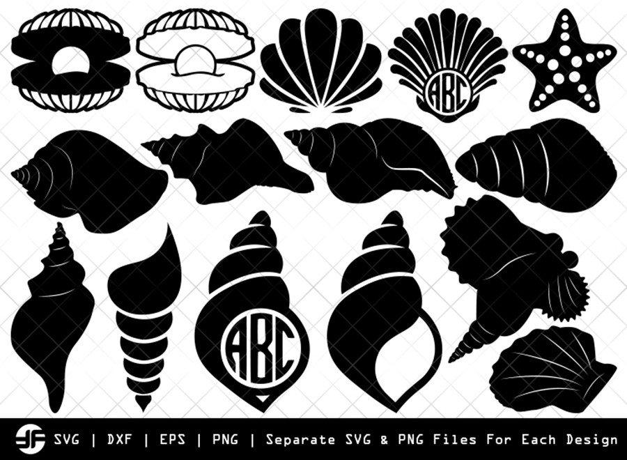 Seashell SVG | Sea SVG | Silhouette Bundle | SVG Cut File
