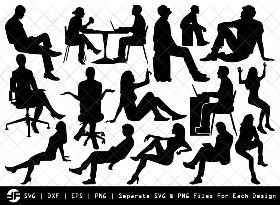 Sitting People SVG | Silhouette Bundle | SVG Cut File