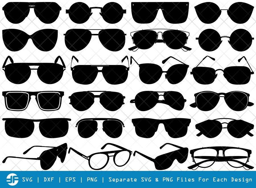 Sunglass SVG Cut Files | Spectacles Silhouette Bundle