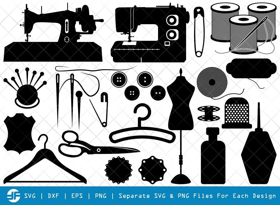 Tailoring Elements SVG Cut Files   Needle And Thread Silhouette Bundle