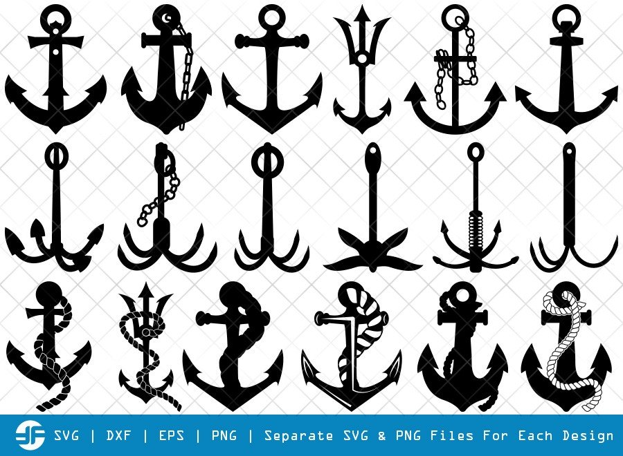 Anchor SVG Cut Files | Rope Anchor Silhouette Bundle