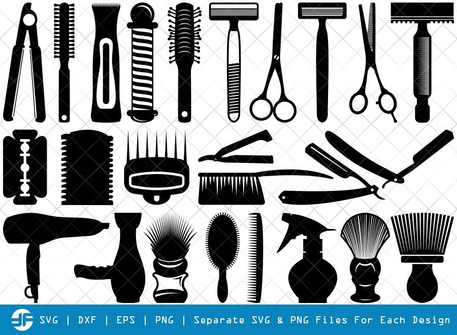 Barber Tool SVG Cut Files | Straight Razor Silhouette Bundle