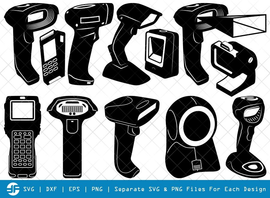 Barcode Scanner SVG Cut Files | Barcode Reader Silhouette