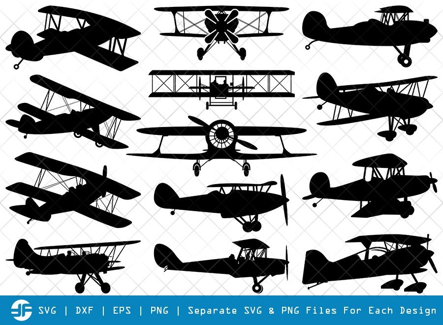 Biplane SVG Cut Files | Old Vintage Plane Silhouette Bundle