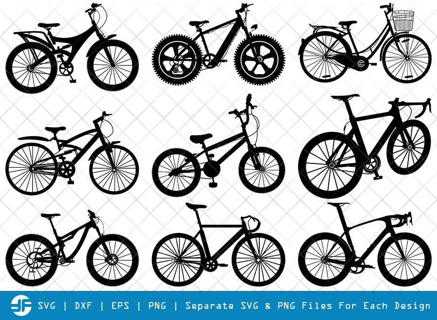 Cycle SVG Cut Files | Bicycle Silhouette Bundle