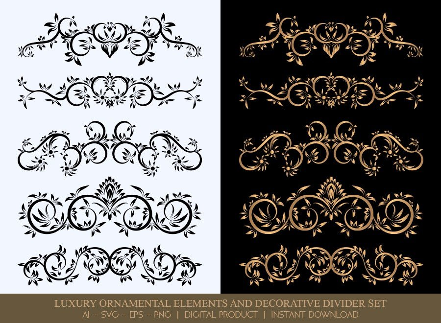 Luxury Decorative Divider Set SVG Cut Files | DDS026